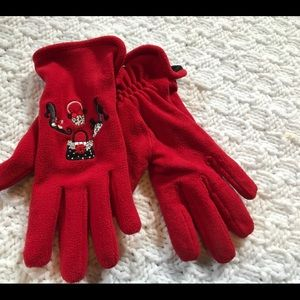 Other - Gloves Red with embroidered design